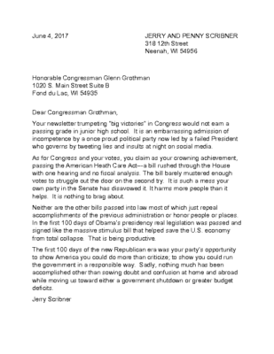 June 4 Letter to Congressman Grothman