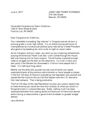 Sample letters postcards vote democratic 2018 june 4 letter to congressman grothman spiritdancerdesigns Gallery