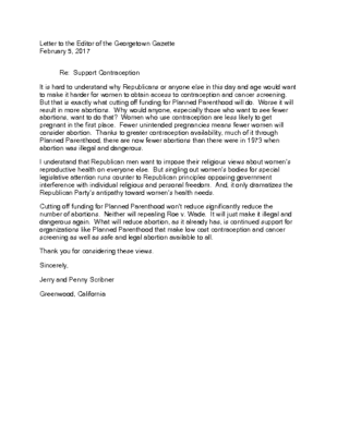 Letter Support Contraception