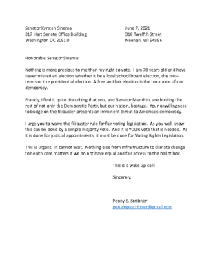 Penny's letter to Krysten Sinema on voting rights
